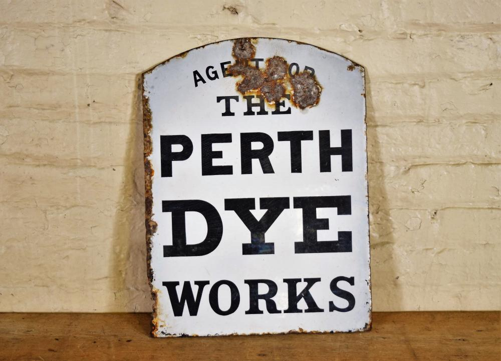 Vintage English Perth Dye Works Double Sided Enamel Sign