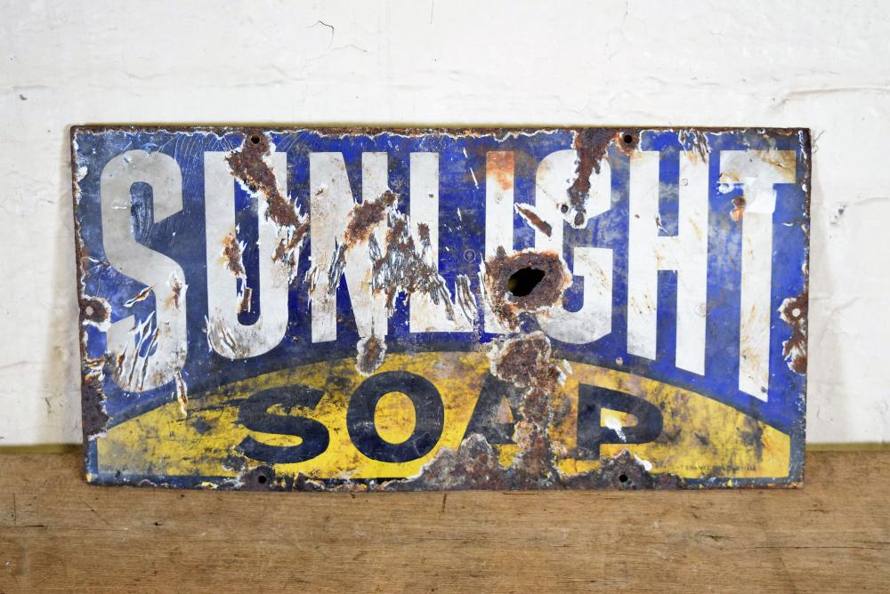 Vintage English Sunlight Soap Enamel Sign