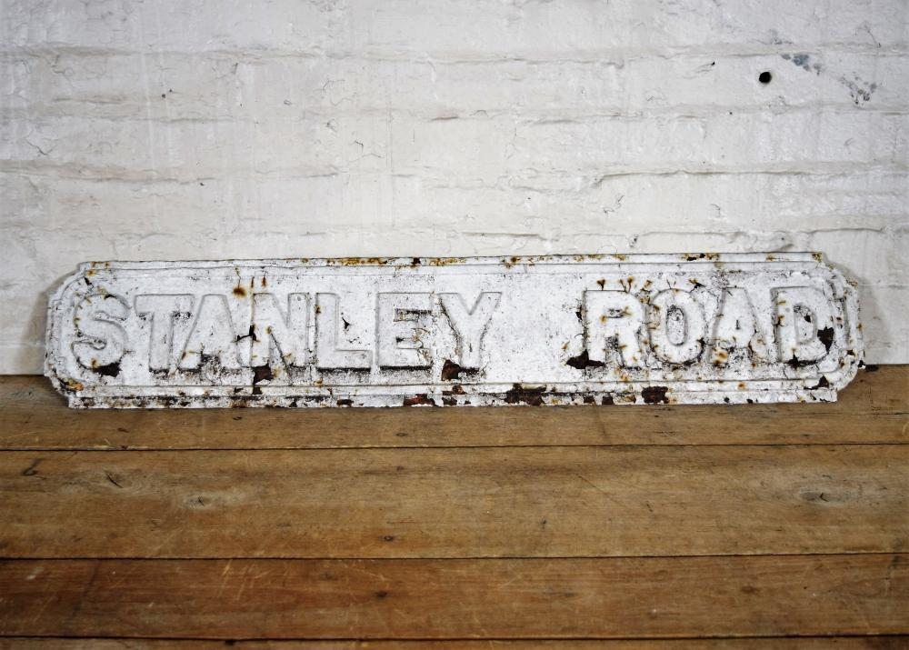 Cast Iron English Stanley Road Street Sign