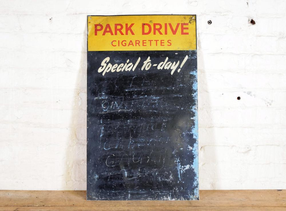 Vintage English Tin Park Drive Cigarettes 'Today's Special' Chalkboard