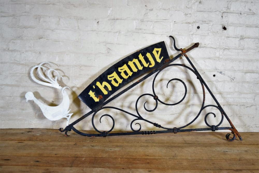 Dutch T'haantje Metal Sign with Scrolling Accents