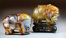 Chinese Qing Carved Agate Elephants