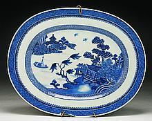 A Chinese Antique Blue & White Porcelain Platter