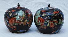 CHINESE BLACK GROUND REPUBLIC WARRIOR JARS