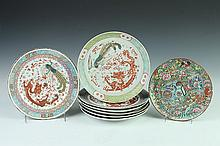 EIGHT CHINESE FAMILLE ROSE PORCELAIN PLATES