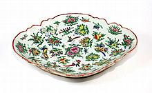 ANTIQUE CHINESE CANTON FAMILLE ROSE PORCELAIN TRAY