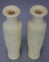 Pair Chinese Carved Ivory Vases w/ Dragons