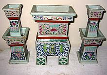 Three Piece Chinese Porcelain Shrine Set