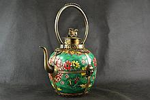 Old Handwork Porcelain Painting Flower Leo Kylin Portable Tea Pot
