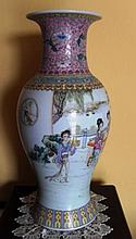 Chinese JingDeZhen Famille Porcelain Vase Hand Paint Beauty Theme