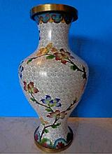 Antique Chinese White Cloisonne Vase