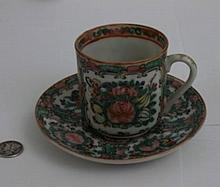 Antique Chinese Rose Medallion Cup And Saucer