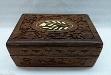 Vintage Jewelry Box Hand Carved Wood