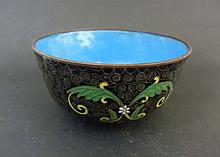 Vintage Chinese Export Cloisonne Enamel Over Copper Gold Gilt Floral Bowl