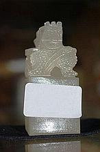 Chinese stone seal with carved dragon
