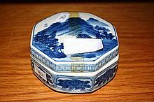 Chinese blue and white glazed box Octagonal shape