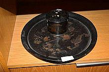 2 vintage oriental lacquered items: circular tray