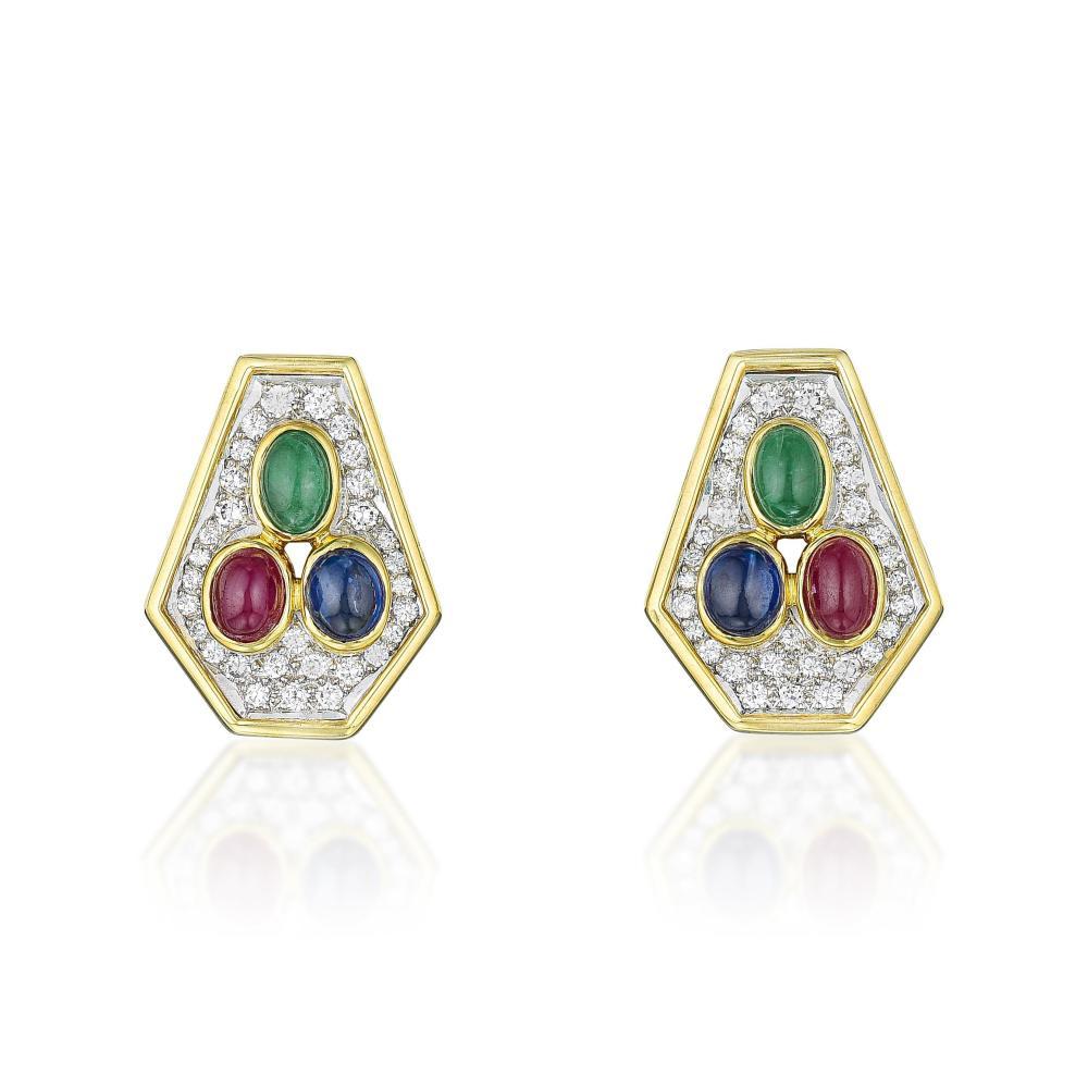 Cartier Multi-Gemstone and Diamond Earrings