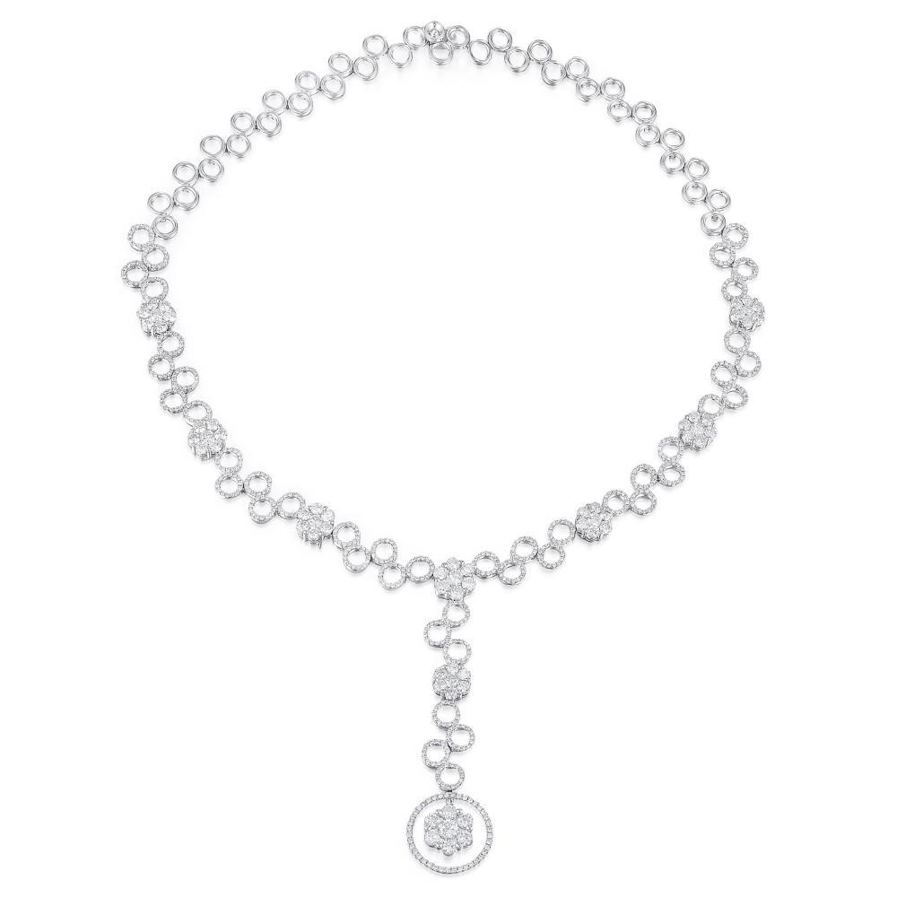Diamond Circle Flower Lariat Necklace, 9.76 CTW
