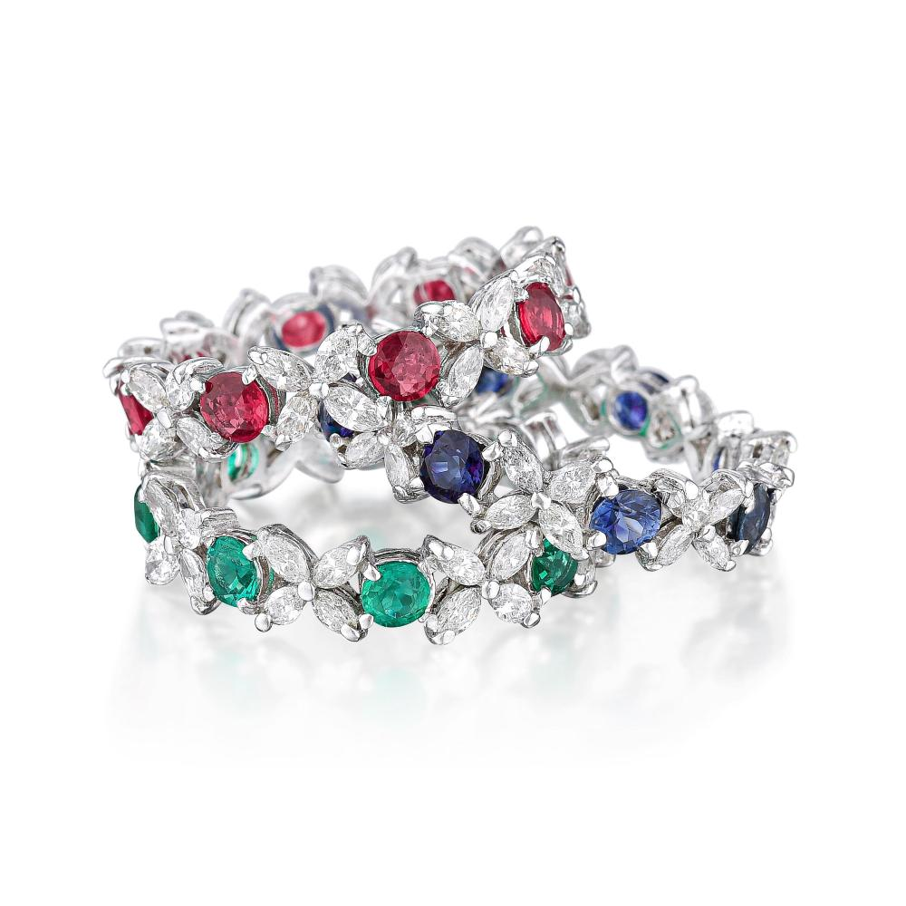 Ruby Sapphire Emerald and Diamond Flower Bands