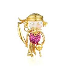 A Coral, Ruby and Diamond Animated Pirate Brooch