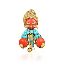 An Arabian Coral, Turquoise and Diamond Brooch