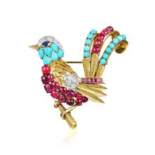 Union Ruby, Turquoise and Diamond Bird Brooch
