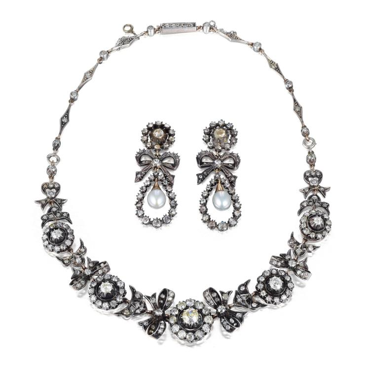 A victorian diamond and pearl necklace and earrings set for Diamond pearl jewelry sets
