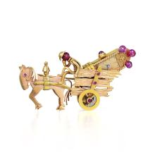J. Schulz Pink Gold Horse and Wagon Watch Brooch