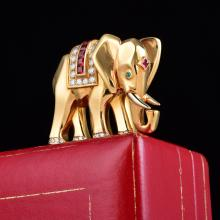 Cartier Diamond, Ruby and Emerald Elephant Pin