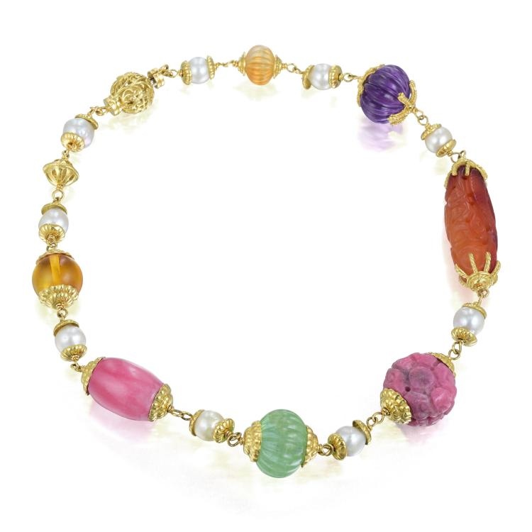 a multi gem and pearl bead necklace