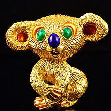 Very cute Kuchinsky gold enamel koala bear brooch