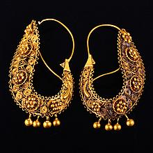 Antique gold lace earrings
