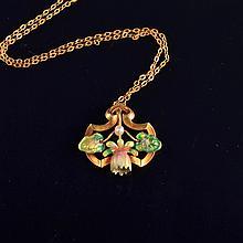 Art Nouveau enamel flower necklace