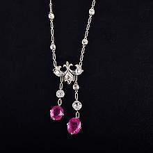 Antique platinum diamond ruby necklace