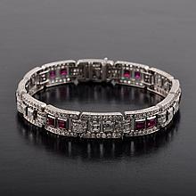 Art Deco ruby diamond bracelet