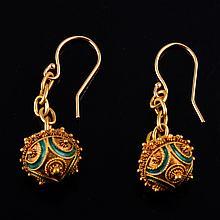 Antique gold enamel ball drop earrings