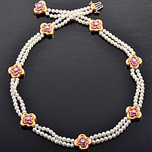 VC&A; pink sapphire pearl necklace