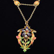Art Nouveau enamel gold neckalce