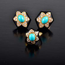 VC&A; diamond turquoise earrings and ring set