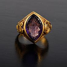 Tiffany carved amethyst gold ring