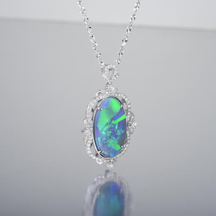 a and black opal pendant