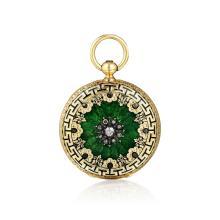 Antique 18K Gold Diamond and Enamel Gent's Pocket Watch