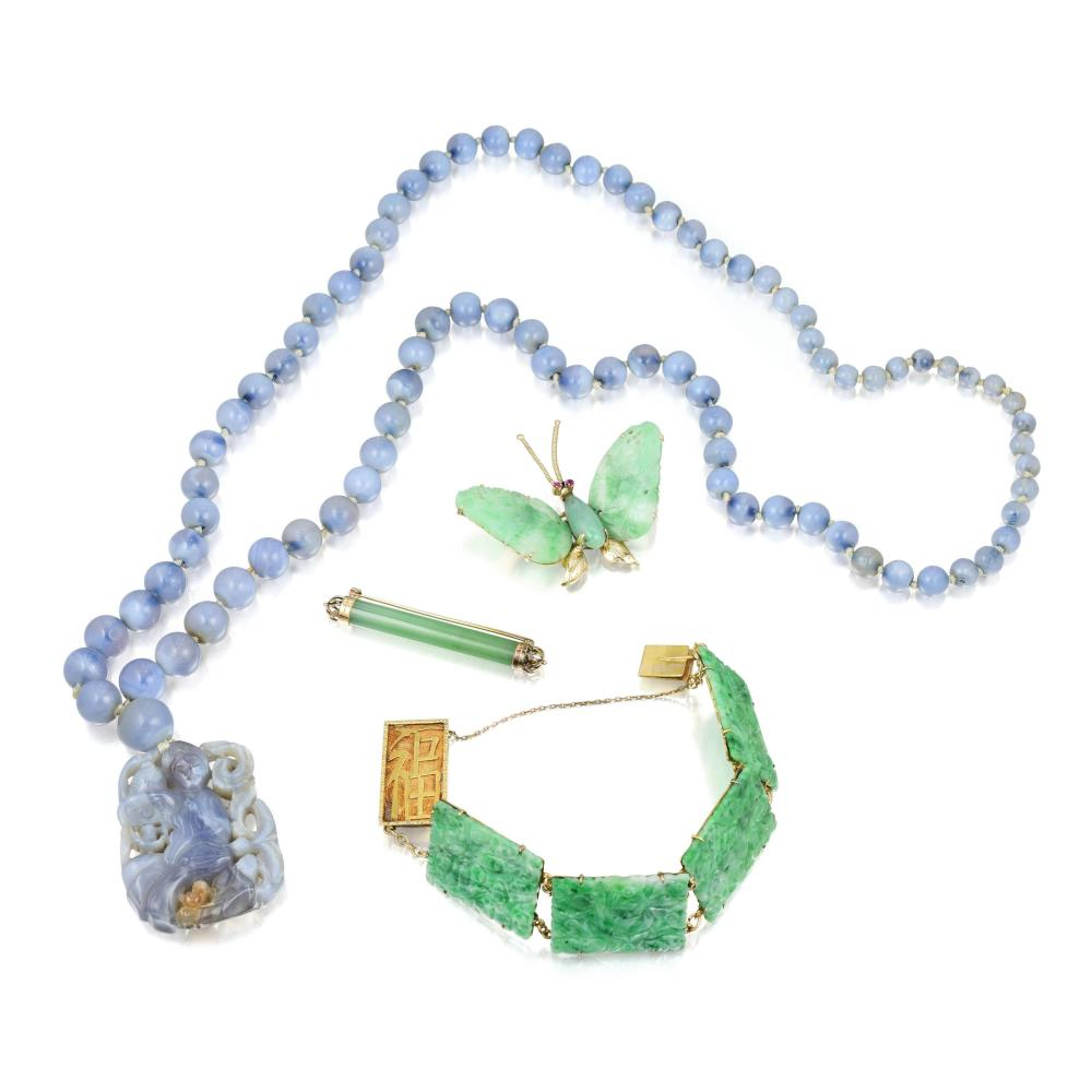 A Group of Antique Jade and Chalcedony Jewelry