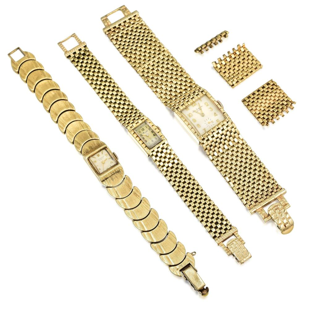 Group of Mens and Ladies Bracelet Watches in 14K Gold