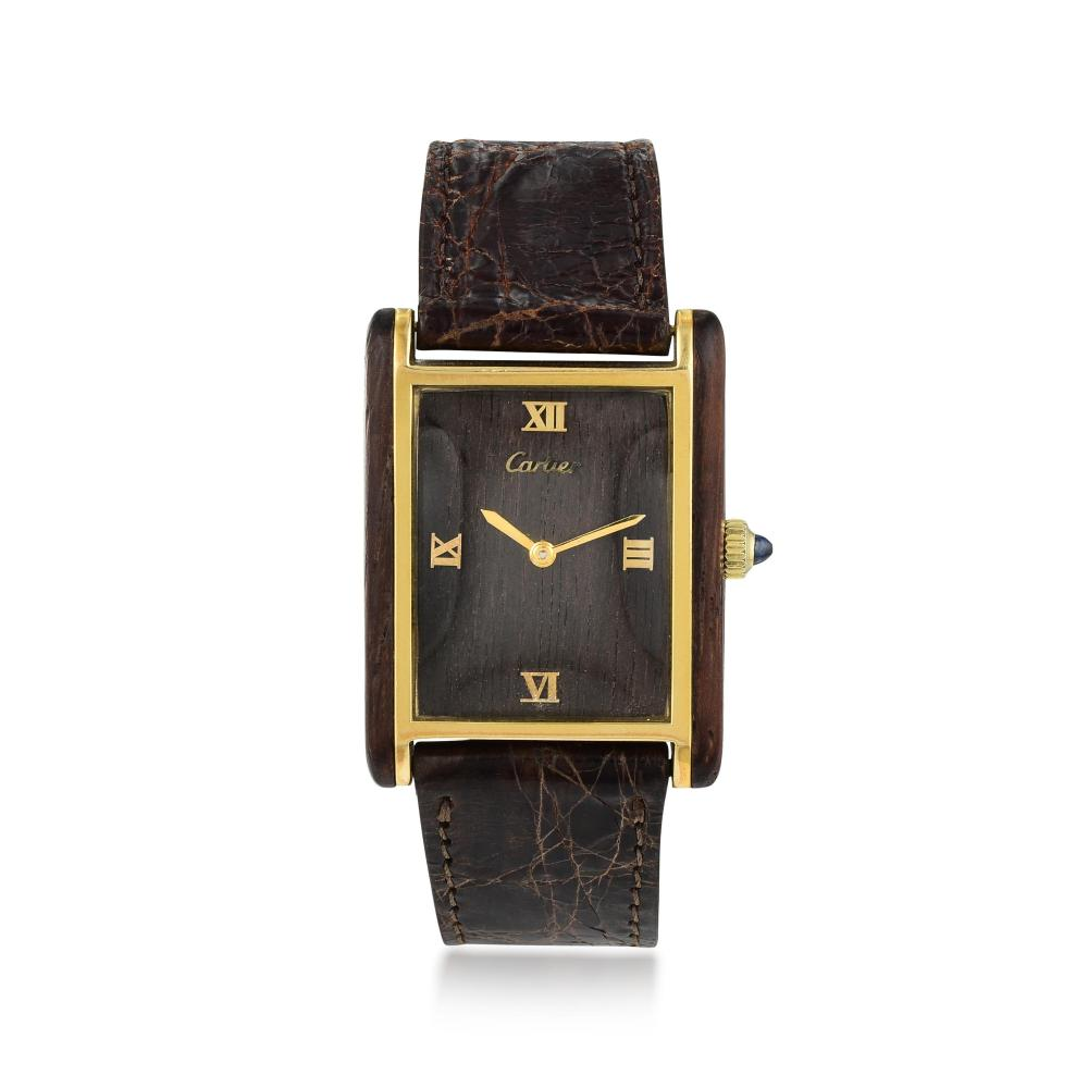 Cartier Tank Watch with Exotic Dial in Wood and 18K Gold Plate