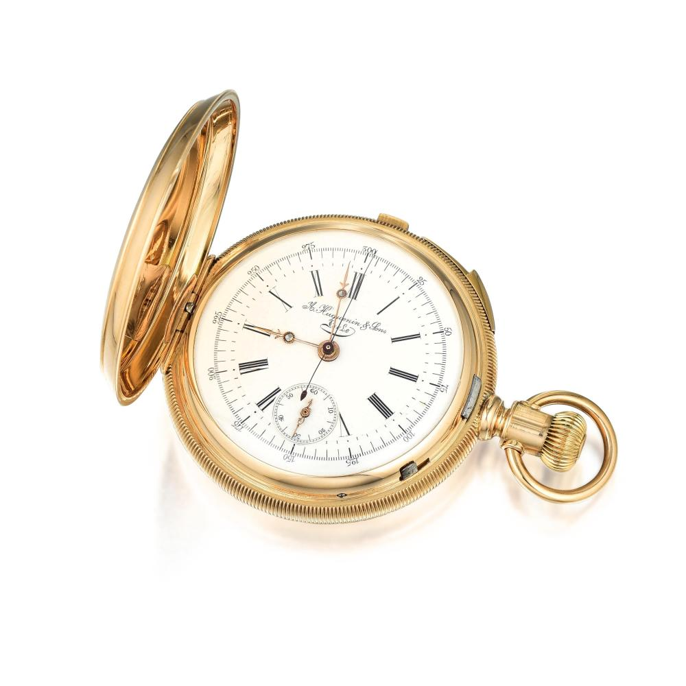 Huguenin & Sons Pocket Chronograph and Quarter Repeater in 14K Pink Gold