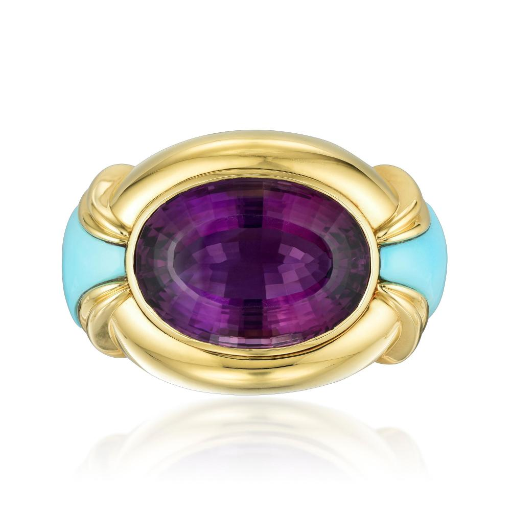An Impressive Amethyst and Turquoise Belt Buckle