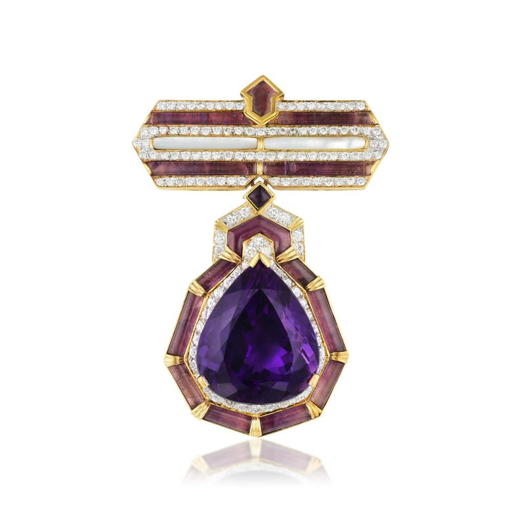 An Amethyst and Diamond Pendant/Pin