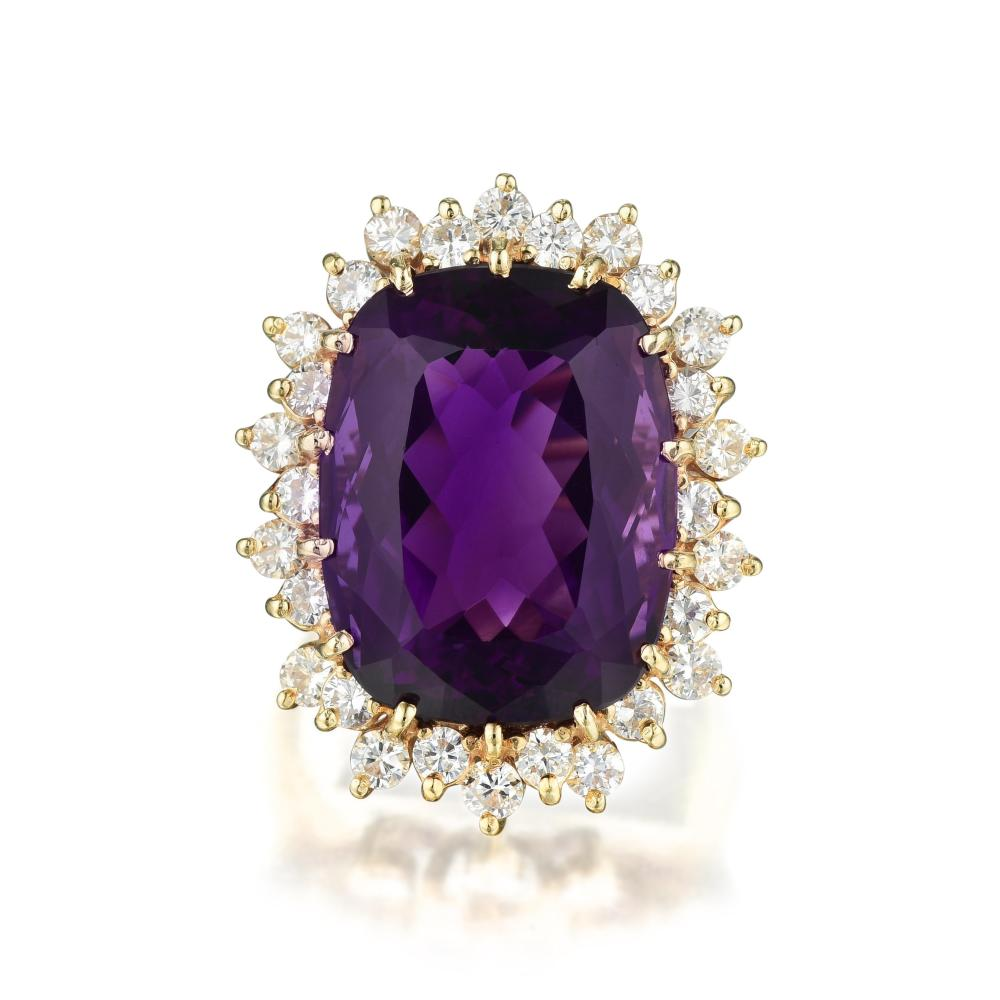An Amethyst and Diamond Cocktail Ring